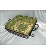 "Temp-Tations By Tara Old World Green 9.50"" Square Bowl Basket Ovenware T... - $54.45"