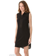 10 CROSBY DEREK LAM Black Lace Up Sleeveless Dress NWT SIZE 0 - $495 - $113.85
