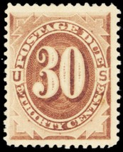 J6, Mint 30¢ VF LH Postage Due Stamp Cat $350.00 - Stuart Katz - $175.00