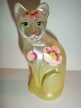 Fenton Glass Crystal Iridized Yellow with Poppies Stylized Cat Kitten Fi... - $125.62