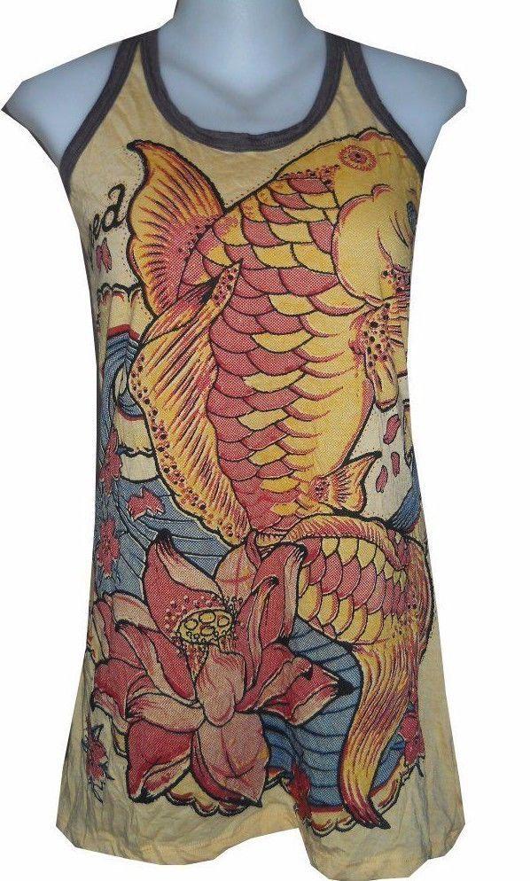 Yoga mini dress sleeveless tunic animal yellow cotton koi for Koi fish dress