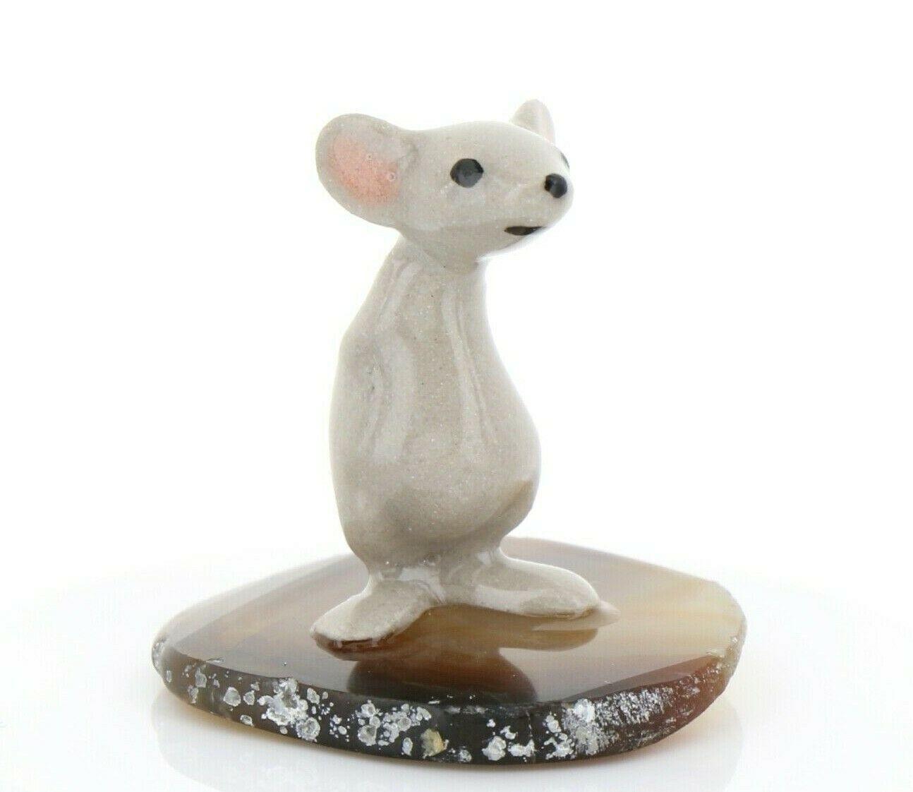 Stepping Stones Fairy Garden Miniature Mouse Standing on Sliced Quartz Base 2740