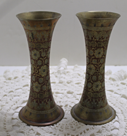 Two Vintage Etched BRASS Flora Design Vases Bohemian Decor