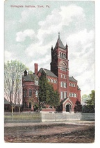 York PA Collegiate Institute College Vintage 1907 Postcard P. Weists Sons - $6.69