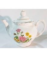 Tea pot made in japan rose pattern vintage white porcelain - $24.74
