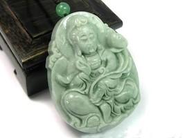 Hand carved natural green jade guanyin buddha zen buddha guanyin pendant - $39.60