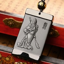 natural Obsidian stone Chinese guanyu good luck gift guangong pendant  - $25.73