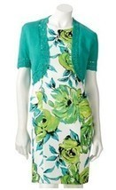 NEW AB Studio Green floral Sheath Work dress with cover up. Size 4. Spri... - $987,65 MXN