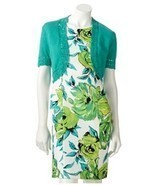 NEW AB Studio Green floral Sheath Work dress with cover up. Size 4. Spri... - £35.15 GBP