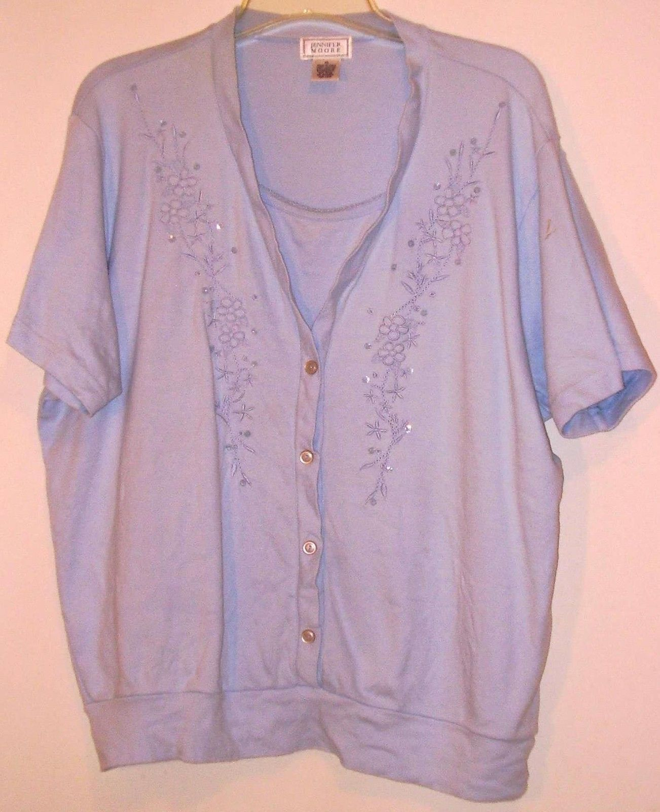 Primary image for JENNIFER  MOORE  * SHORT SLEEVE BLOUSE * XL - LIGHT BLUE - EMBROIDED CHEST DECO.