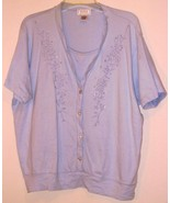 JENNIFER  MOORE  * SHORT SLEEVE BLOUSE * XL - LIGHT BLUE - EMBROIDED CHE... - $5.99
