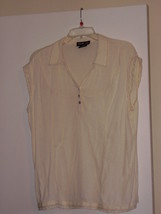 STYLE AND CO * SLEEVELESS  BLOUSE * 18  - 100% COTTON -   OFF-WHITE - $5.99