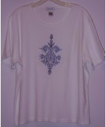 JENNIFER MOORE * SHORT SLEEVE T-SHIRT * L - 100% COTTON - WHITE CHEST EM... - $5.99