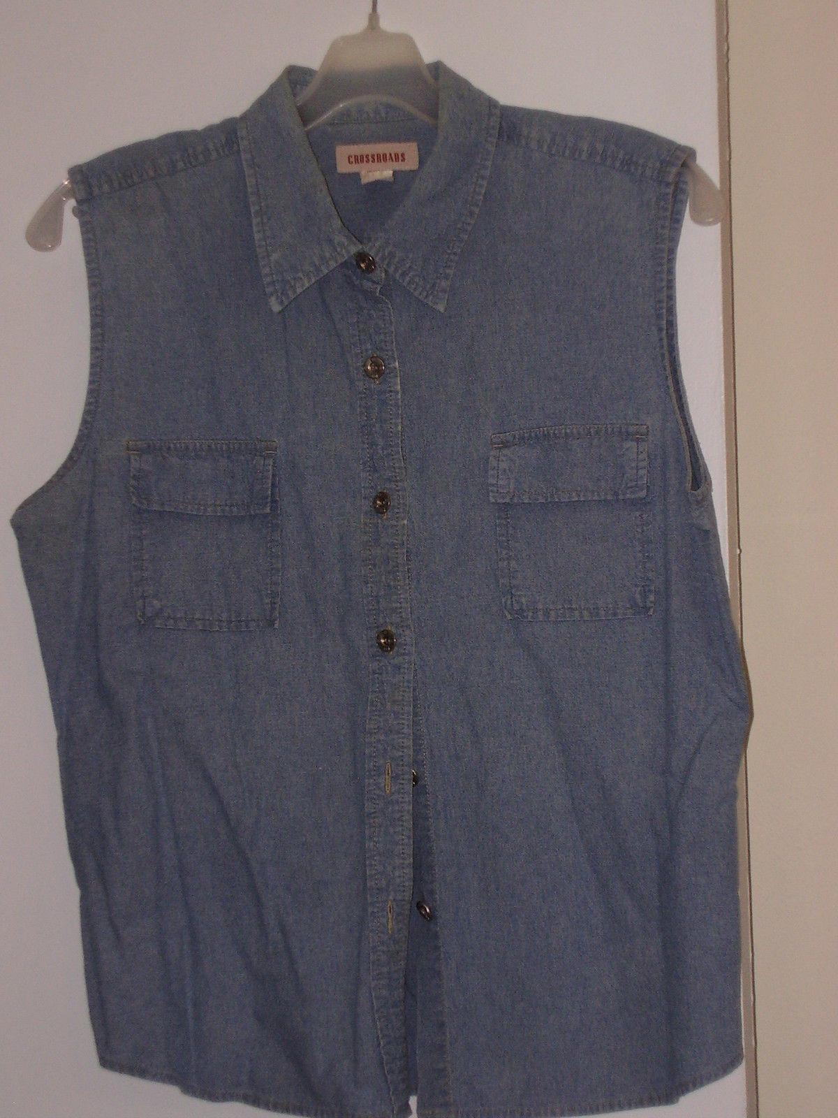 CROSSROADS  * SLEEVELESS  BLOUSE * L(14/16) - 100% COTTON -  DENIM BLUE - - $6.99