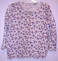 LONG  SLEEVE  T-SHIRT  - LARGE  - 100% COTTON - WHITE WITH SMALL FLOWERS - $5.99