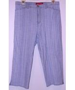 GLORIA   VANDERBILT  * PANTS * 12  PETITE -  LIGHT BLUE PLAID - 96% COTTON - $7.99