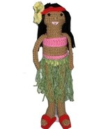 Hawaiian Hula Girl Doll with Yellow Flower Hula Outfit and Red Sandals - $30.00