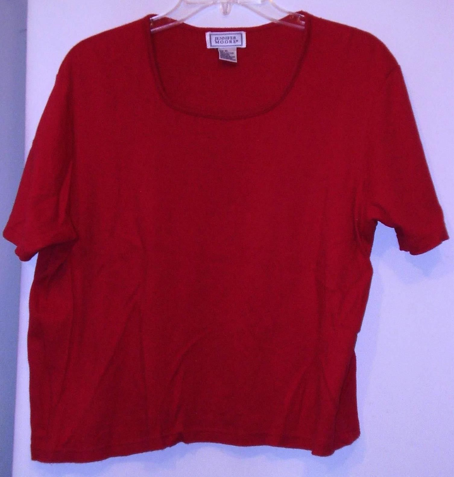 Primary image for JENNIFER MOORE * T-SHIRT * RED - 100% COTTON - EXTRA LARGE - SHORT SLEEVES