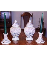 TWO VASES and TWO CANDLEHOLDERS SET plus CANDLES SHOWN, NEVER LID - $17.99