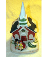 PORCELAIN  MUSICAL CHURCH  * JOY TO THE WORLD *  7 X 4 X 4  HAND PAINTED - $19.99