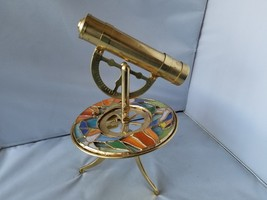 Vintage Brass Kaleidoscope Telescope Stained Glass Wind Up Music Player ... - $65.09