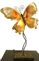 Unique Whimsical Butterfly Capiz Shell & Metal Novelty Table Lamp - $55.00