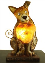 Unique Whimsical Dog Capiz Shell & Metal Novelty Table Lamp - $55.00