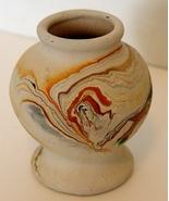 "Nemadji Art Pottery Vase Greens Blue 5"" - $10.90"