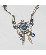Antique Blue Star Sapphire? Blue Rhinestones Choker Necklace - $99.98