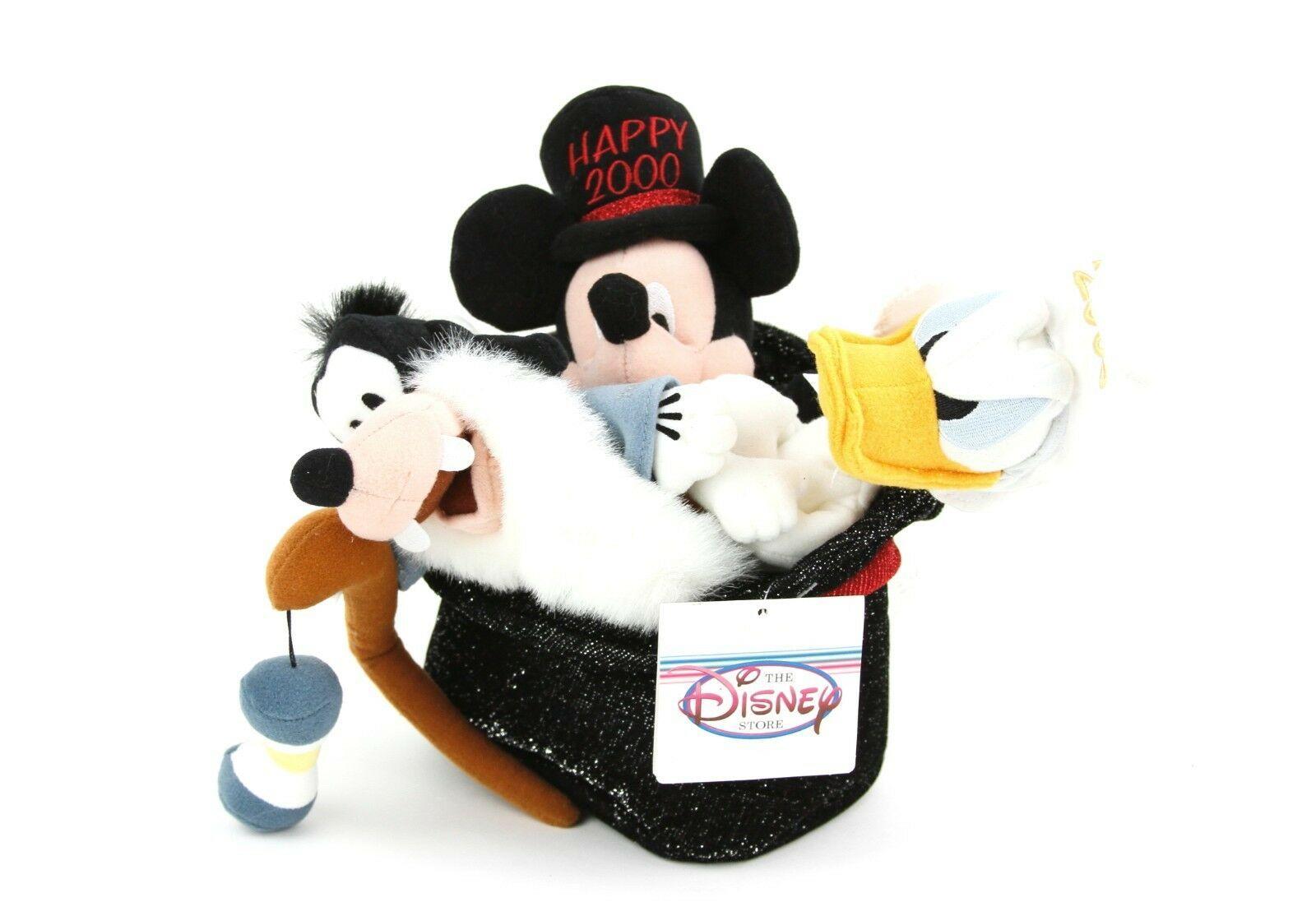 Disney Store 2000 Millennium Bean Bag Set Mickey Mouse Donald Duck Goofy In Hat - $23.33