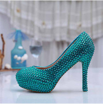 Green Crystals Wedding heels,Bridal pumps,Custom color,Custom heels - $98.00