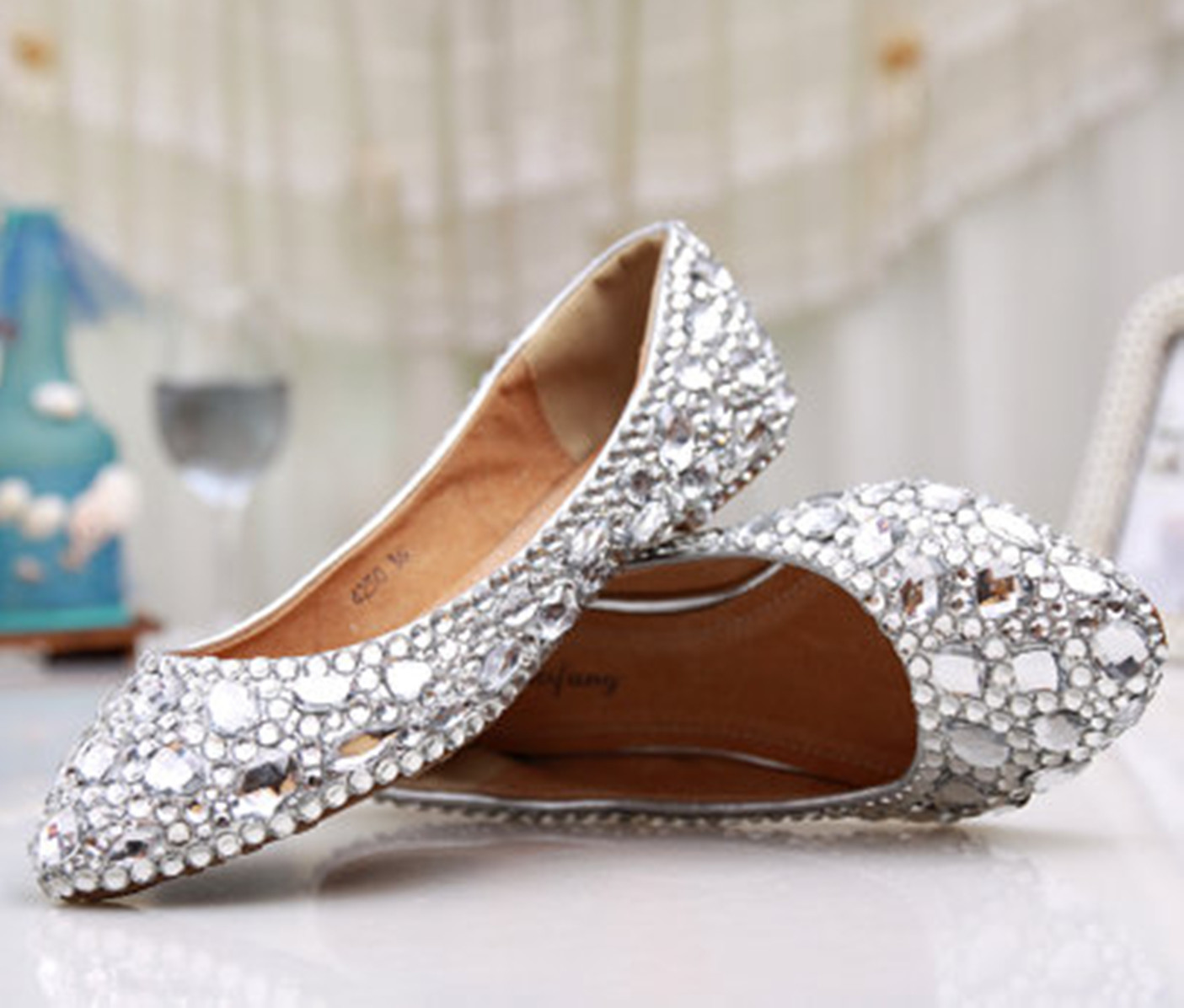 Primary image for Custom size,Silver wedding Flats,Bridals Flats,Party flats,Low heels shoes