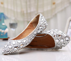 Custom size,Silver wedding Flats,Bridals Flats,Party flats,Low heels shoes - £70.79 GBP