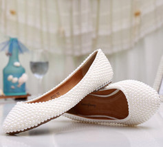 Pearl flats wedding shoes, bridesmaid shoes,Party flats,Low heels shoes - $88.00