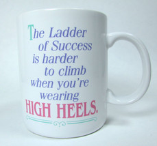 Vintage Shoebox White Mug Cup Ladder To Success Is Harder ...With High H... - $19.99