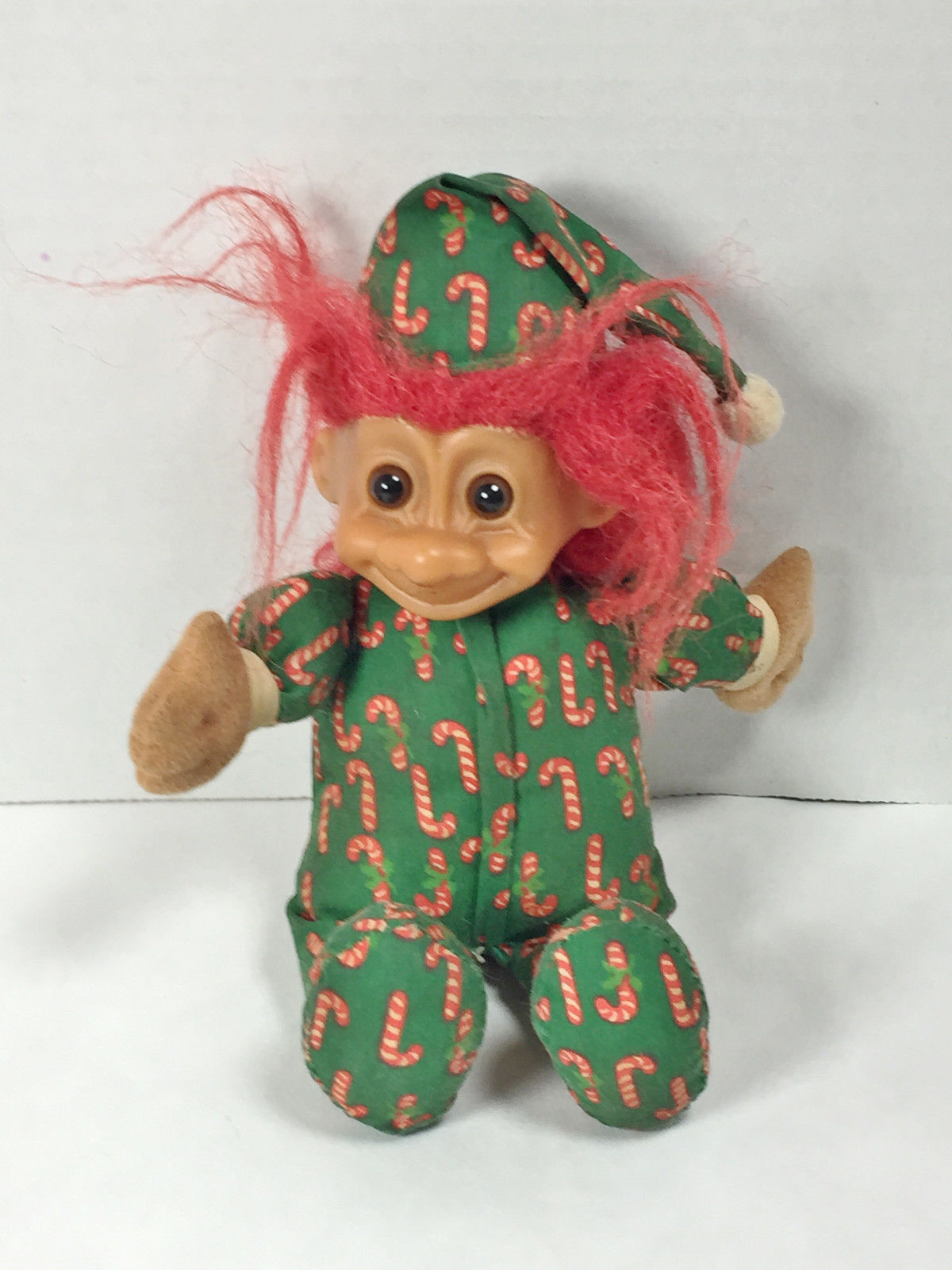 Vintage Russ  Red Haired Amber Eyes Troll Doll in Baby Candy Cane PJs