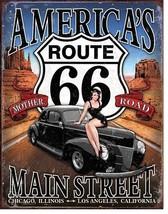 America's Route 66 Metal Tin Sign Nostalgic Wall Decor Hot Rod Garage Ar... - $21.95