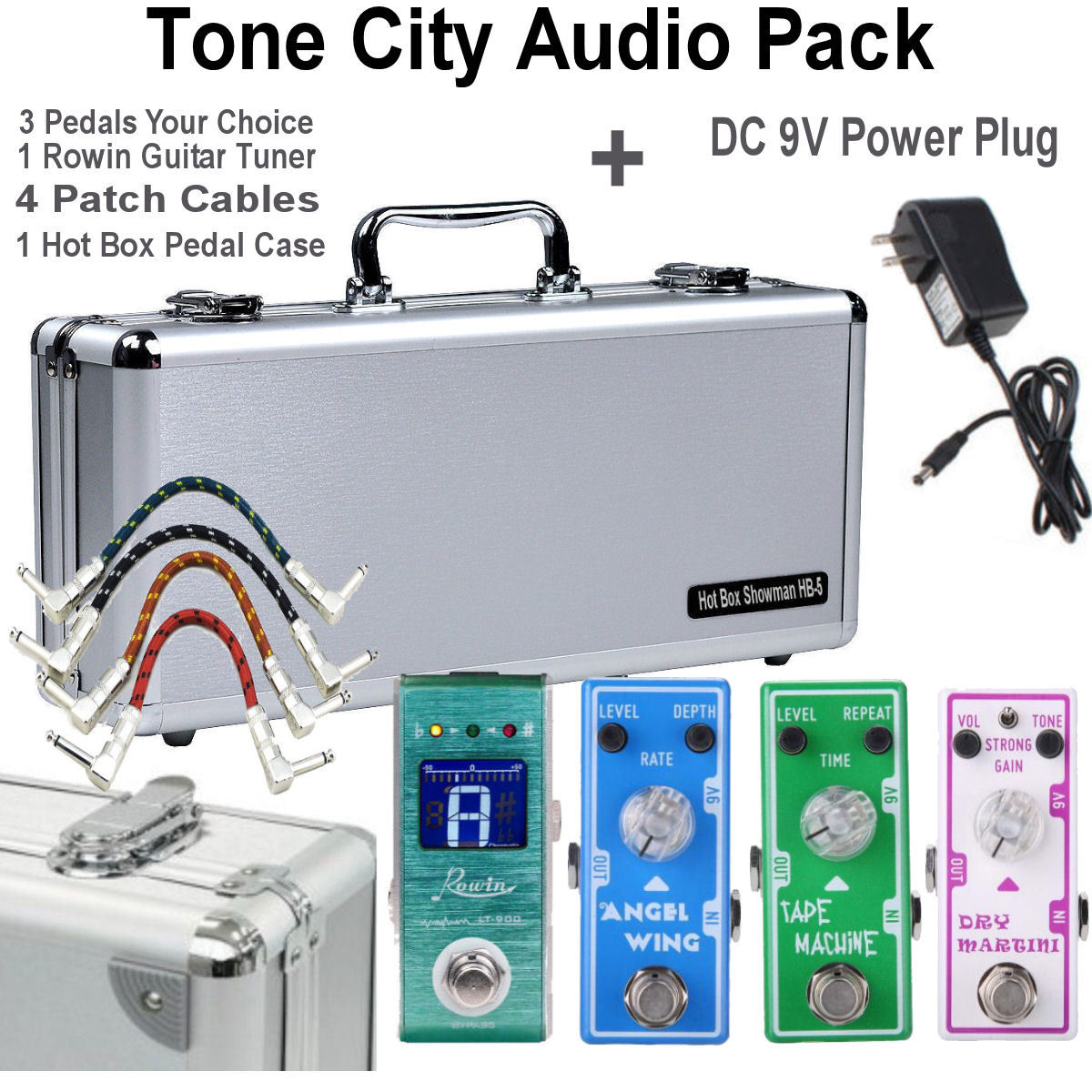 Primary image for Tone City 3 Effect Pedal Bundle Plus pedalboard and Rowin Tuner + DC 9V Free Shi