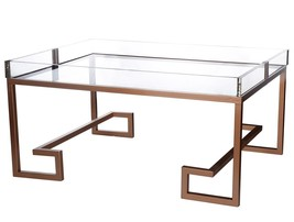 A&B Home 40320 Modern Glass Top Rose Gold Finish Metal Coffee Table - €800,27 EUR