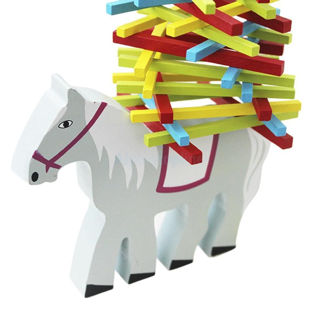 Lovely Children Kids Educational Toy Balance Beam Wood Horse w/Multicolor Sticks
