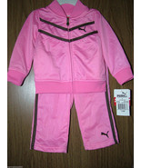 Puma Baby Girls 2 Pc Tracksuit Set, Pink Color. Size 12 Months. NWT - $27.99
