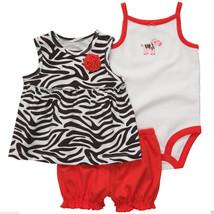 Carter's Infant Girl 3 Pc.Cotton, Zebra Print Set. Size18 Months. NWT - £13.66 GBP