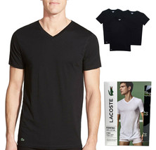 Lacoste Men's Black V-Neck Cotton T-Shirts Pack Of 3 Regular Fit TH3444-51
