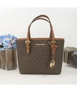 Michael Kors XS Extra Small Brown Monogram Luggage Leather Travel Tote B... - $172.76