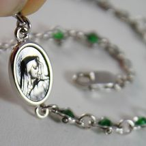 925 SILVER BRACELET WITH EMERALD AND VIRGIN MARY MEDAL BY ZANCAN MADE IN ITALY image 2