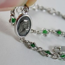 925 SILVER BRACELET WITH EMERALD AND VIRGIN MARY MEDAL BY ZANCAN MADE IN ITALY image 3