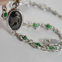 925 SILVER BRACELET WITH EMERALD AND VIRGIN MARY MEDAL BY ZANCAN MADE IN ITALY image 4