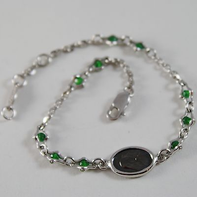 925 SILVER BRACELET WITH EMERALD AND VIRGIN MARY MEDAL BY ZANCAN MADE IN ITALY
