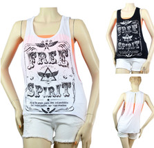 Trendy Deep Open Side,Slit Back TANK TOP Free Spirit, Stretcht Casual Shirt SML - $13.99