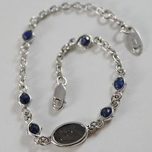 925 SILVER BRACELET WITH SAPPHIRE AND VIRGIN MARY MEDAL BY ZANCAN MADE IN ITALY